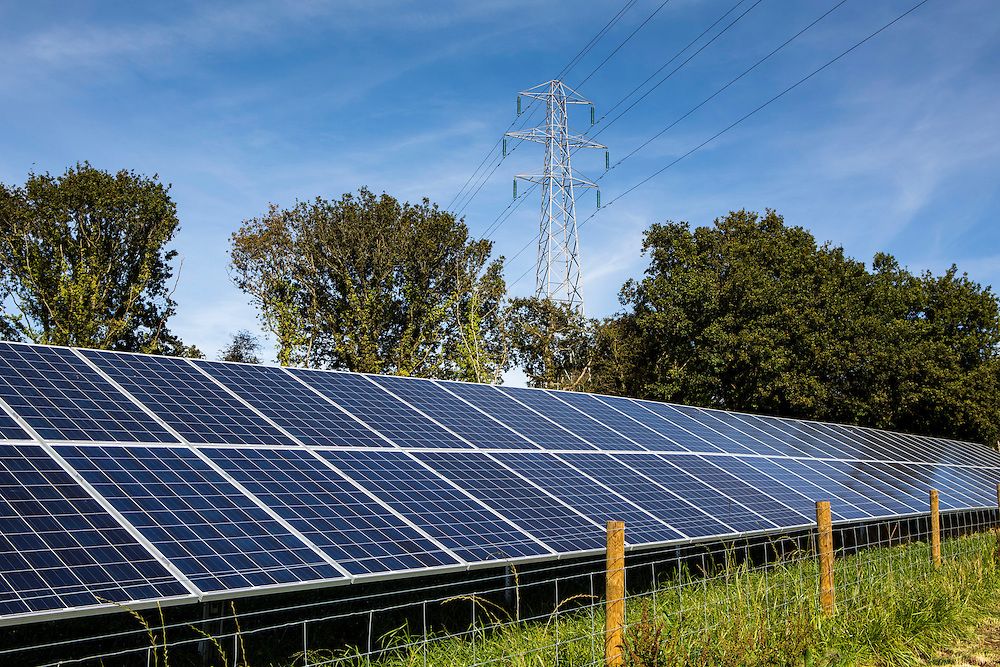 Solar panels of the 100kW solar array built by WREN, in partnership with South West Water, to power Nanstallon Sewage Treatment Works. WREN community energy. Wadebridge, Cornwall. UK
