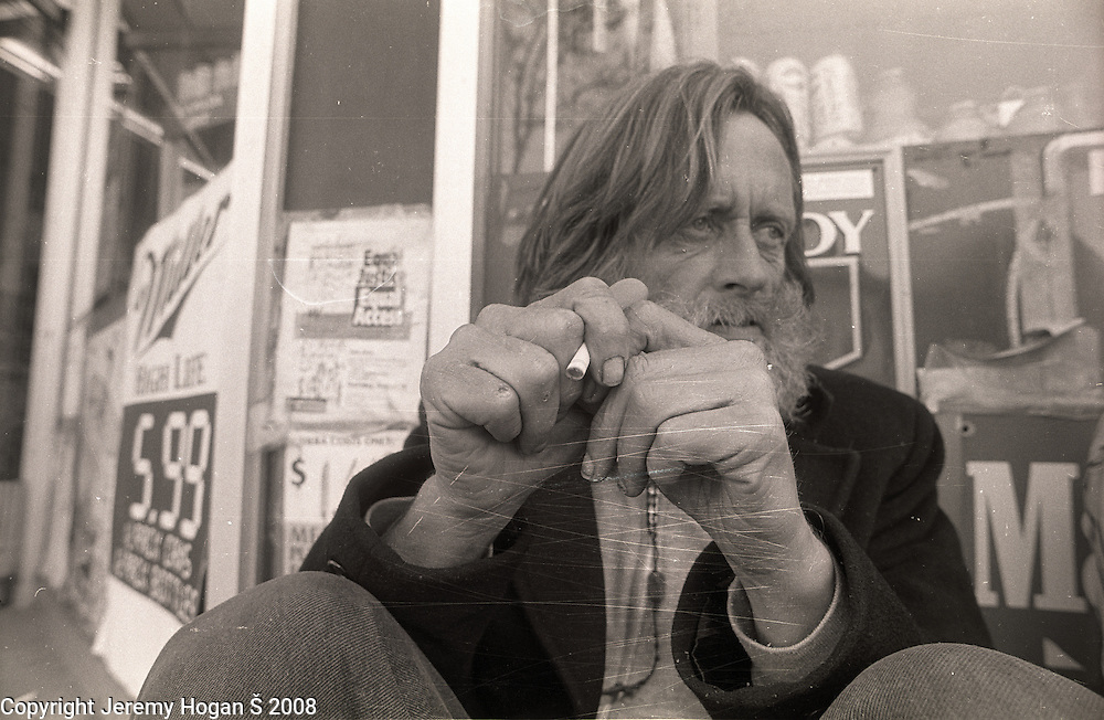 Skip Spence, of Moby Grape hangs out, smoking cigarettes and telling stories, near where he was living in a half way house in early March 1994 in Downtown San Jose, Calif. Skip Spencer was once the drummer from Jefferson Airplane and the leader of the influential band Moby Grape. At age 21 Spencer had a nervous breakdown and spent the next three decades in and out of mental institutions and half way houses. In the 1960s Spence, who was often called Spencer, was friends with many in the San Francisco rock scene including Janis Joplin.
