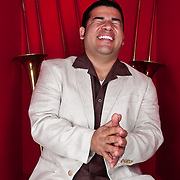 Portrait of Denis Jiron, bandleader and trombonist for Rumbankete, a Los Angeles, California-based salsa orchestra, taken in Woodland Hills, Calif., on April 3, 2010, for the band's promotional use and album cover.  Photo by Jen Klewitz.  (Jen Klewitz © 2010)