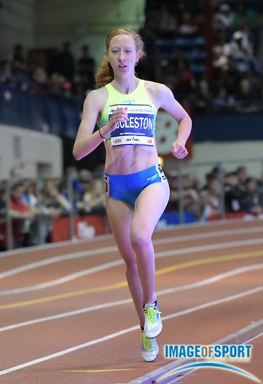 Feb 11, 2017; New York, NY, USA; Amanda Eccleston (USA) places 12th in the Wanamaker women's mile in  4:38.46 during the 110th Millrose Games at The Armory.