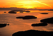 Aerial image of the San Juan Islands at sunset, Washington, Pacific Northwest