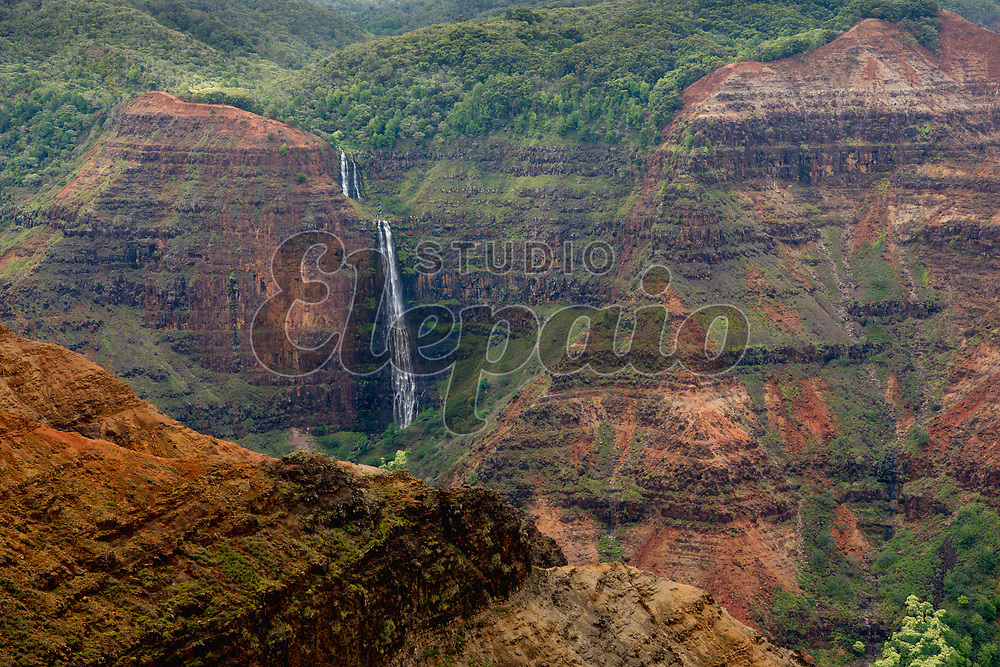 Waipoo Falls in Waimea Canyon. Photographed in Waimea Canyon State Park, Kauai, Hawaii