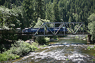 Coos Bay Rail Link crossing the bridge near Swisshome, Oregon