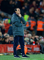 LIVERPOOL, ENGLAND - Saturday, December 29, 2018: Arsenal's manager Unai Emery looks dejected during the FA Premier League match between Liverpool FC and Arsenal FC at Anfield. (Pic by David Rawcliffe/Propaganda)