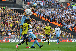 Jordan Turnbull of Coventry City heads the ball clear - Photo mandatory by-line: Jason Brown/JMP -  02/04//2017 - SPORT - Football - London - Wembley Stadium - Coventry City v Oxford United - Checkatrade Trophy Final