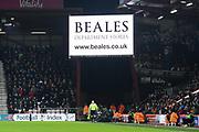 An advert comes up on the big screen for Beales Department Store which has gone into administration yesterday during the Premier League match between Bournemouth and Brighton and Hove Albion at the Vitality Stadium, Bournemouth, England on 21 January 2020.