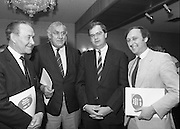 """Ford Siamsa Cois Laoi..1985..17.06.1985..06.17.1985..17th June 1985..At a press luncheon in Dublin, the names of the forthcoming artists for the Siamsa Cois Laoi music festival were announced. The artists include, Kris Kristofferson,Louden Wainwright III,.Stocktons Wing and The Wolfe Tones..The Ford sponsored festival takes place in Parc Ui Chaoimh,Cork City,on the 28th of July.This is the second year of a three year sponsorship deal.It is hoped that after the success of last years'event that this year will be bigger and better than ever..Mr Kieven,Chairman and M.D. of Ford Ireland stated """"The 1984 Ford Siamsa was Ford's first association with Ireland's Premier Folk Music Festival..Ford were very pleased with the outstanding success that was achieved and that the friendly co-operation of everyone involved helped to ensure a memorable day""""...Image taken of Mr Con Murphy,.Chairman,Cork GAA County Board,Mr Donal O'Sullivan,Chairman,Parc Ui Chaoimh,Grounds Committee, Mr Hartmut Kieven,Chairman and Managing Director,Ford Ireland and Mr Frank Murphy,Secretary Cork County Board after the announcement of the headline acts at this years festival."""
