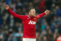 MANCHESTER, ENGLAND - Sunday, January 8, 2012: Manchester United's Wayne Rooney celebrates his side's 3-2 victory over Manchester City during the FA Cup 3rd Round match at the City of Manchester Stadium. (Pic by David Rawcliffe/Propaganda)