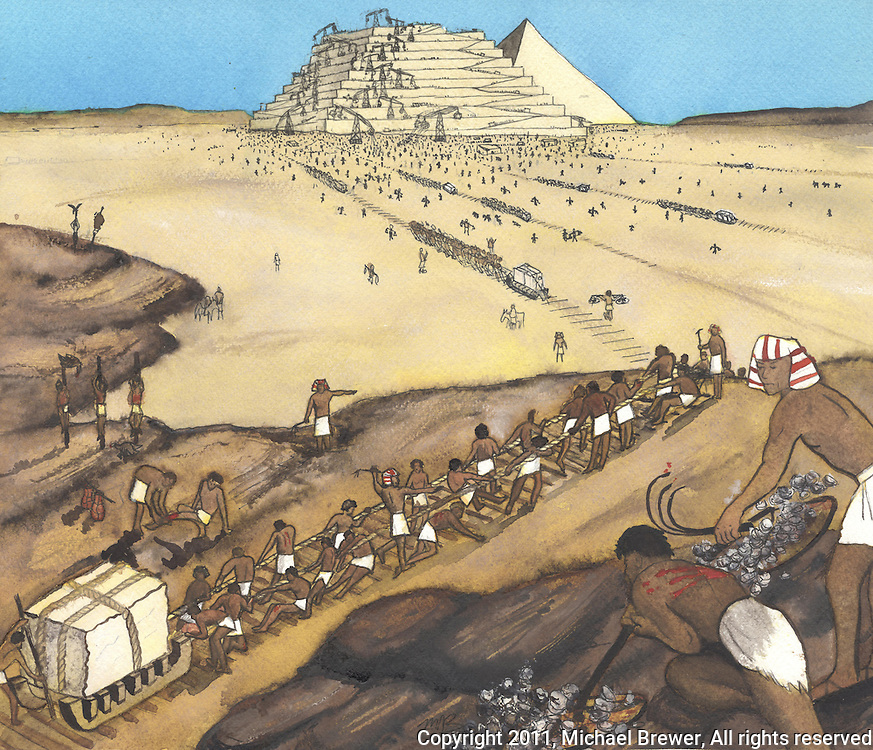 Watercolor illustration of pyramids being constructed in the desert.  Gangs of slaves are being put to work dragging sleds containing huge blocks of stone across the desert.  Overseers are whipping their backs raw to get them working.  In the distance you can see the partly constructed pyramids with primitive cranes and other construction machines.