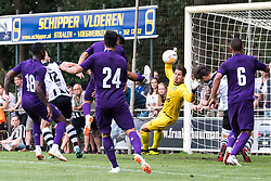 (L-R) Gerson Santos da Silva of ACF Fiorentina, Wout Droste of Heracles Almelo, Giovanni Simeone of ACF Fiorentina, Marco Benassi of ACF Fiorentina, goalkeeper Janis Blaswich of Heracles Almelo, Robin Propper of Heracles Almelo, Vitor Hugo Franchescoli de Souza of ACF Fiorentina during the Pre-season Friendly match between Heracles Almelo and Fiorentina at Sportpark Wiesel  on August 01, 2018 in Wenum-Wiesel , The Netherlands