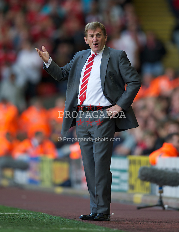 LIVERPOOL, ENGLAND - Saturday, August 27, 2011: Liverpool's manager Kenny Dalglish against Bolton Wanderers during the Premiership match at Anfield. (Pic by David Rawcliffe/Propaganda)