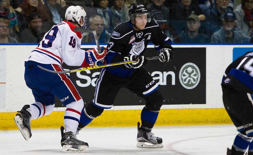 The Victoria Royals beat the visiting Spokane Chiefs 5-3 in game one of their seven game Western Hockey League Playoff quarterfinal at the Save-on-Foods Memorial Centre in Victoria, British Columbia Canada on March 25, 2016. The Royals now lead the series 1 game to 0.