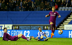 Will Grigg of Wigan Athletic scores a goal to make it 1-0 - Mandatory by-line: Robbie Stephenson/JMP - 19/02/2018 - FOOTBALL - DW Stadium - Wigan, England - Wigan Athletic v Manchester City - Emirates FA Cup fifth round proper
