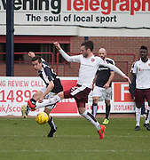 Dundee&rsquo;s Cammy Kerr and Hearts&rsquo; Jordan McGhee - Dundee v Hearts - Ladbrokes Premiership at Dens Park <br />  - &copy; David Young - www.davidyoungphoto.co.uk - email: davidyoungphoto@gmail.com