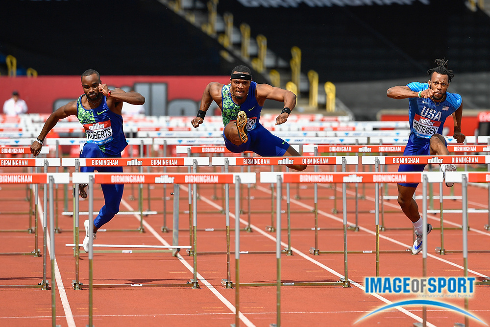 Omar McLeod (JAM) centre, during the men's 110m hurdles in a time of 13.21 ahead of Freddie Crittenden (USA) right, and Daniel Roberts (USA) during the Birmingham Grand Prix, Sunday, Aug 18, 2019, in Birmingham, United Kingdom. (Steve Flynn/Image of Sport)