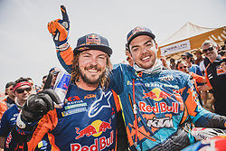 Matthias Walkner (AUT) and Toby Price (AUS) of Red Bull KTM Factory Team at the finish line after he wins the Rally Dakar 2019, Peru on January 17, 2019. // Flavien Duhamel/Red Bull Content Pool // AP-1Y5HCGD3S2111 // Usage for editorial use only // Please go to www.redbullcontentpool.com for further information. //