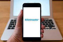 Ticketmaster online ticket selling website logo on smart phone