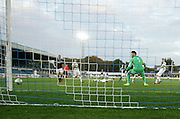 Celtic keeper Leonardo Fasan is glad to see Craig Wighton's effort go narrowly wide -  Celtic v Dundee,  SPFL Development League at Cappielow<br /> <br />  - &copy; David Young - www.davidyoungphoto.co.uk - email: davidyoungphoto@gmail.com