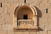Detail of ornamentation Tower of Elahbel, burial tower, Palmyra, Syria. Ancient city in the desert that fell into disuse after the 16th century.