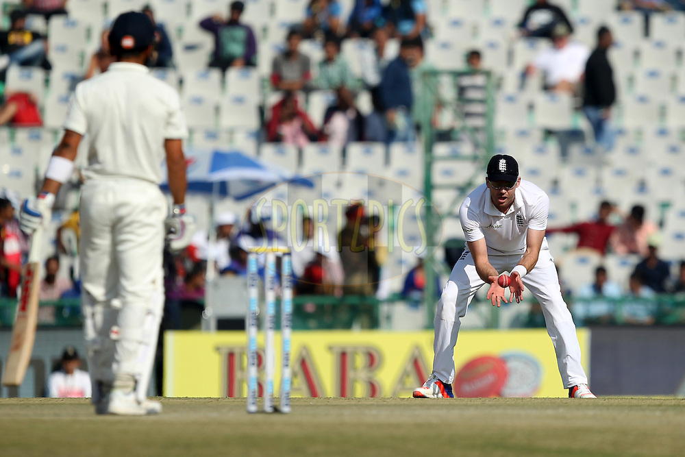 James Anderson of England collects the ball during day 2 of the third test match between India and England held at the Punjab Cricket Association IS Bindra Stadium, Mohali on the 27th November 2016.Photo by: Prashant Bhoot/ BCCI/ SPORTZPICS
