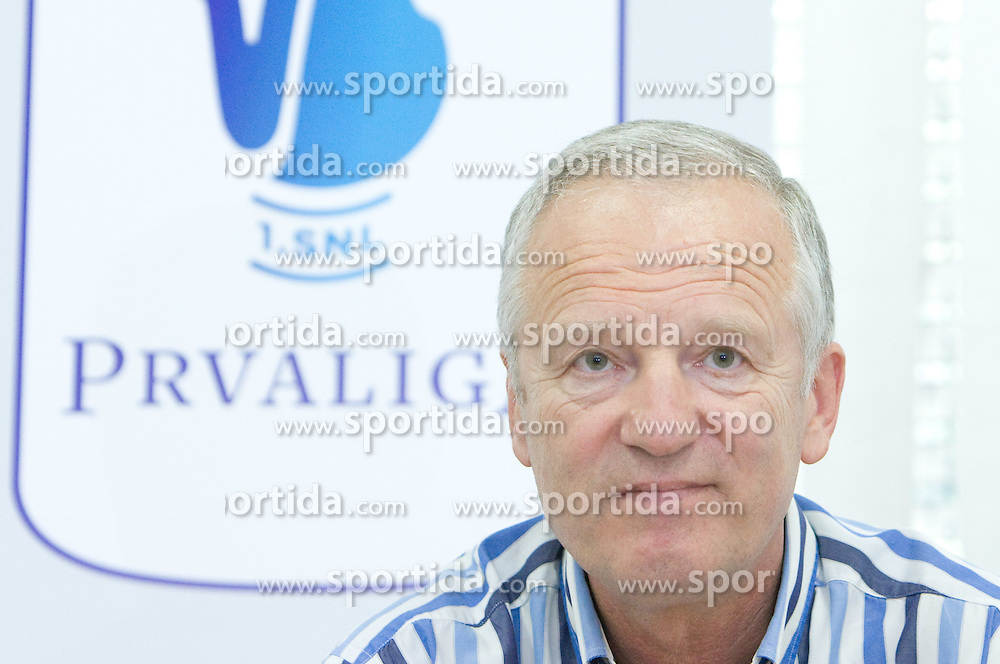 President of Zdruzenje 1. SNL Branko Florjanic and new graphic design at press conference of Prva Liga 1. SNL before new season 2009/2010, on July 15 2009, in Ljubljana, Slovenia. (Photo by Vid Ponikvar / Sportida)