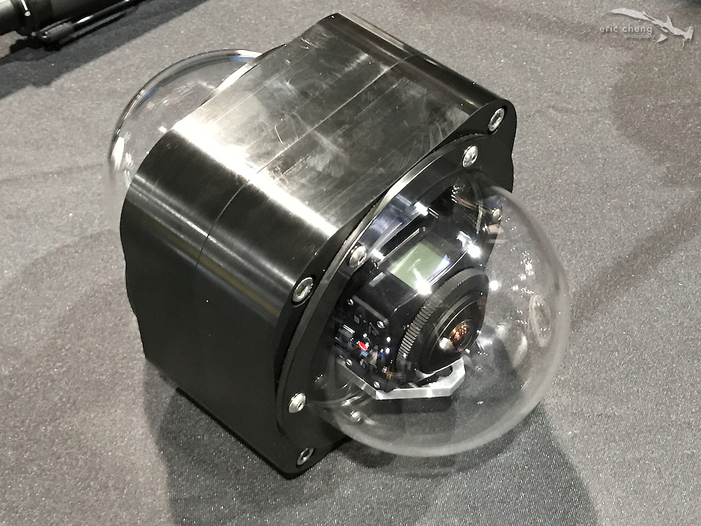 Prototype housing for Kodak SP360 4K 360 camera by 360RIZE (DEMA 2016, Las Vegas)