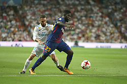 August 16, 2017 - Madrid, Spain - Samuel Umiti and Dani Carvajal. Real Madrid defeated Barcelona 2-0 in the second leg of the Spanish Supercup football match at the Santiago Bernabeu stadium in Madrid, on August 16, 2017. (Credit Image: © Antonio Pozo/VW Pics via ZUMA Wire)