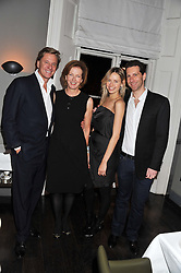 Left to right, ROBERT HERSOV, JULIA PEYTON-JONES, MARLON ABELA and his wife NADYA ABELA at a dinner for the Serpentine Gallery's Council held at Morton's, Berkeley Square, London on 5th December 2011.