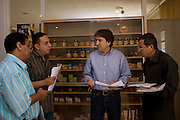 Helmy Abouleish, (c) Managing Director of the leading Egyptian Organic foods and products producer, Sekem Group, meets with his managers in an office at the Sekem farm Nov 4, 2008 in Belbeis, Egypt. Helmy's father, Dr. Ibrahim Abouleish founded the project in 1977 on what was then barren desert, and since has grown it into a lush oasis ecompassing several farms, production plants, schools and even a local medical facility.