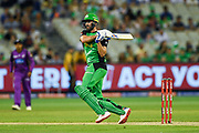 14th January 2019, Melbourne Cricket Ground, Melbourne, Australia; Australian Big Bash Cricket, Melbourne Stars versus Hobart Hurricanes; Liam Plunkett of the Melbourne Stars hits the ball