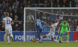 Ryan Tafazolli of Peterborough United attempts to win the ball off Fred Onyedinma of Wycombe Wanderers but concedes a free-kick which leads to the opening goal - Mandatory by-line: Joe Dent/JMP - 03/11/2018 - FOOTBALL - Adam's Park - High Wycombe, England - Wycombe Wanderers v Peterborough United - Sky Bet League One