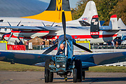 Supermarine Spitfires and Hawker Hurricanes are brought on to teh flight line as the sun rises - Duxford Battle of Britain Air Show at the Imperial War Museum. Also commemorating the 50th anniversary of the 1969 Battle of Britain film. It runs on Saturday 21 & Sunday 22 September 2019