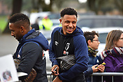 Jermain Defoe (18) of AFC Bournemouth signing his autograph for fans as he arrives at the Vitality Stadium with Lys Mousset (9) of AFC Bournemouth smiling behind him before the Premier League match between Bournemouth and Liverpool at the Vitality Stadium, Bournemouth, England on 8 December 2018.