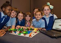 First Class Scoil Caitriona NS Renmore with one of their projects at the Jnr Lego League organized through schools by the Galway Education Centre at The Radisson blu hotel<br />  Photo: Andrew Downes,  xposure
