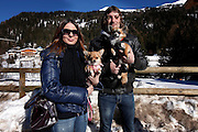 Italy, Madonna di Campiglio, lovers promenade  with their beloved chihuahua