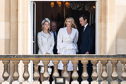 © Licensed to London News Pictures. 03/06/2019. London, UK. Ivanka Trump (C) and husband Jared Kushner attend a ceremonial welcome at Buckingham Palace in honour of US President Donald Trump. The visit is on the first day of a three day state visit. Photo credit: Ray Tang/LNP
