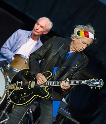Keith Richards and Charlie Watts of The Rolling Stones perform on stage at Ricoh Arena on June 02, 2018 in Coventry, England. Picture date: Saturday 02 June, 2018. Photo credit: Katja Ogrin/ EMPICS Entertainment.