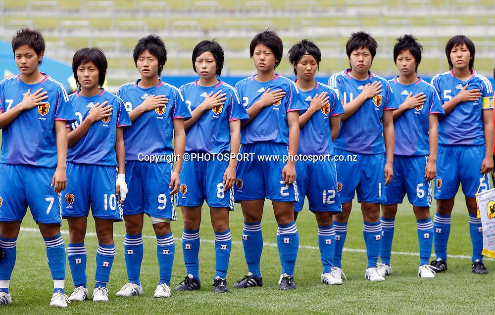 Japan stand in line for the national anthem.<br />FIFA U17 Women's World Cup, England v Japan, Waikato Stadium, Hamilton, New Zealand, Sunday 9 November 2008. Photo: Renee McKay/PHOTOSPORT