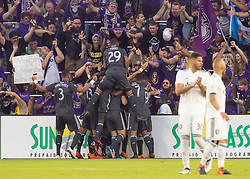 April 21, 2018 - Orlando, FL, U.S. - ORLANDO, FL - APRIL 21: Orlando City team celebrates a game opener goal during the MLS soccer match between the Orlando City FC and the San Jose Earthquakes at Orlando City SC on April 21, 2018 at Orlando City Stadium in Orlando, FL. (Photo by Andrew Bershaw/Icon Sportswire) (Credit Image: © Andrew Bershaw/Icon SMI via ZUMA Press)