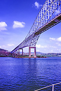 Panama Canal, Central America, Bridge of the Americas, Yachts, moored, waiting passage,