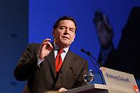 """10 MAR 2002, MAGDEBURG/GERMANY:<br /> Gerhard Schroeder, SPD, Bundeskanzler, waehrend seiner Rede, gemeinsamer Parteitag der ostdeutschen SPD Landesverbaende unter dem Motto:""""Richtung Zukunft. Politik fuer Ostdeutschland."""", Hotel Maritim<br /> IMAGE: 20020310-01-090<br /> KEYWORDS: Party congress, Gerhard Schröder"""