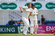 Wicket Rikki Clarke of Surrey celebrates taking the wicket of Sam Northeast of Hampshire during the Specsavers County Champ Div 1 match between Surrey County Cricket Club and Hampshire County Cricket Club at the Kia Oval, Kennington, United Kingdom on 18 August 2019.