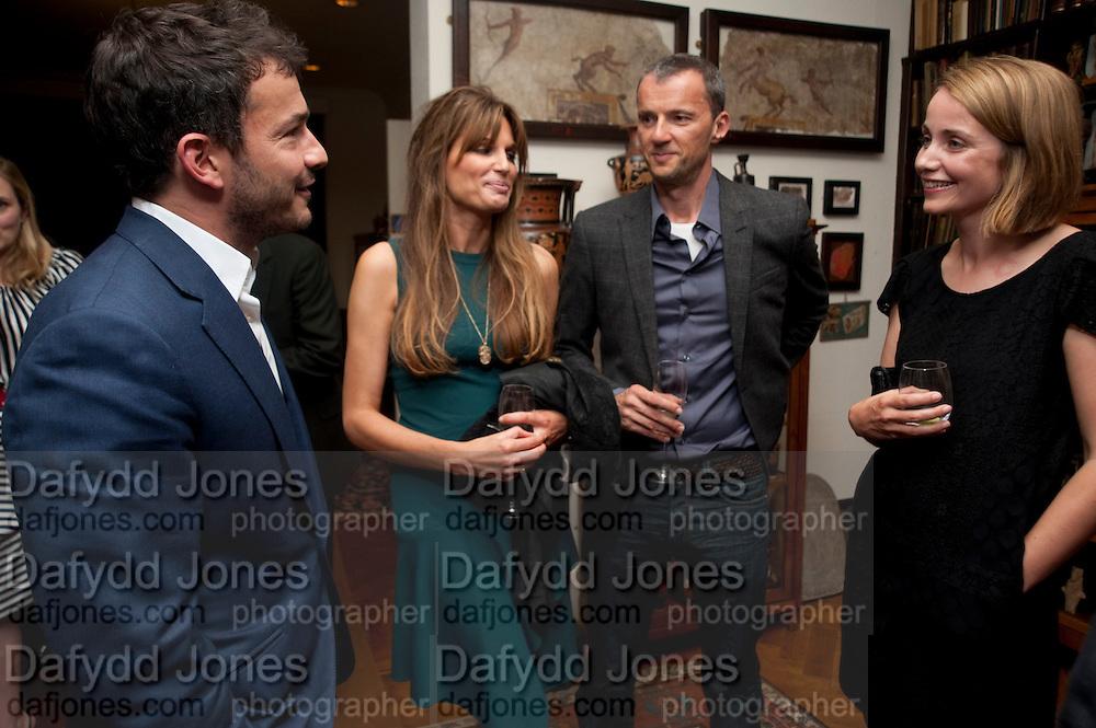 GILES COREN; JEMIMA KHAN; JOHN BATSEK; MRS. ALAIN DE BOTTON, , Freud Museum dinner, Maresfield Gardens. 16 June 2011. <br /> <br />  , -DO NOT ARCHIVE-© Copyright Photograph by Dafydd Jones. 248 Clapham Rd. London SW9 0PZ. Tel 0207 820 0771. www.dafjones.com.