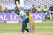 Katherine Brunt batting during the Royal London Women's One Day International match between England Women Cricket and Australia at the Fischer County Ground, Grace Road, Leicester, United Kingdom on 2 July 2019.