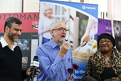 © Licensed to London News Pictures. 03/03/2019. London, UK. Labour leader Jeremy Corbyn speaks during the fourth Visit My Mosque Day at Finsbury Park Mosque in North London with Diane Abbott, Shadow Home Secretary besides him. Over 250 mosques open their doors to non-Muslim guests and visitors on the fourth Visit My Mosque Day. This year the national event also encourages mosques to support Keep Britain Tidy's Great British Spring Clean campaign with many already taking part in cleaning their communities. Photo credit: Dinendra Haria/LNP