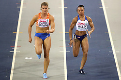 Great Britain's Rachel Miller (right) during the Women's 60m semi final 2nd heat during day two of the European Indoor Athletics Championships at the Emirates Arena, Glasgow.