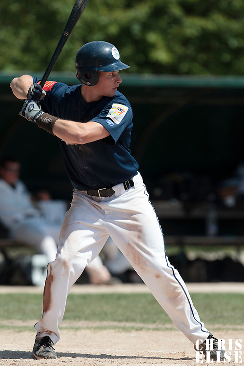 23 May 2010: Gregory Cros of Montpellier is seen at bat during game 1/week 7 of the French Elite season match won 19-9 by Montpellier over the PUC, at the Pershing Stadium in Vincennes, near Paris, France.