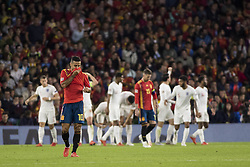 October 15, 2018 - Seville, Spain - THIAGO ALCANTARA of Spain (L ) laments after England scores for 3-0 during the UEFA Nations League Group A4 soccer match between Spain and England at the Benito Villamarin Stadium (Credit Image: © Daniel Gonzalez Acuna/ZUMA Wire)