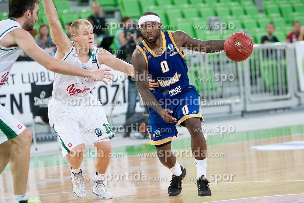 Sasu Salin #10 of KK Union Olimpija and Tyrese Rice #0 of BC Khimki Moskva during basketball match between KK Union Olimpija Ljubljana (SLO) and BC Khimki Moscow (RUS) in Round 2 of EuroCup 2014/15, on October 22, 2014 in Arena Stozice, Ljubljana, Slovenia. Photo by Urban Urbanc / Sportida
