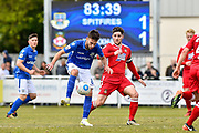 Eastleigh Midfielder, Ben Close (8) and Wrexham AFC Midfielder, Rob Evans (15) during the Vanarama National League match between Eastleigh and Wrexham FC at Arena Stadium, Eastleigh, United Kingdom on 29 April 2017. Photo by Adam Rivers.